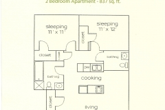 Ridgeview 2 Bedroom - 837 Sq. ft_